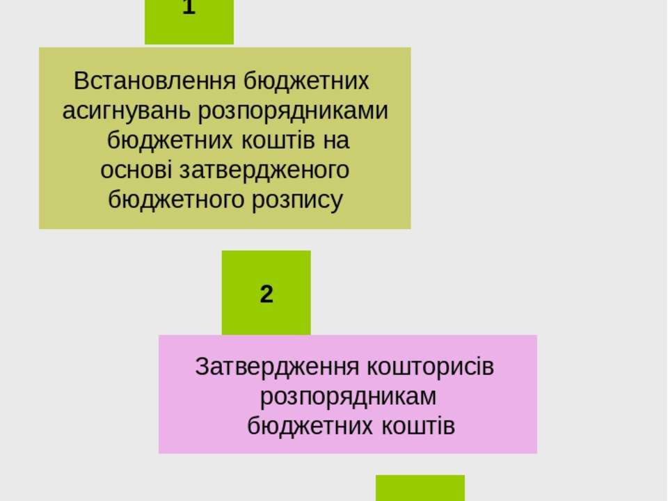 Процес бюджетно-кошторисного фінансування Встановлення бюджетних асигнувань р...