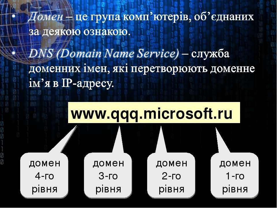 www.qqq.microsoft.ru домен 1-го рівня домен 2-го рівня домен 3-го рівня домен...