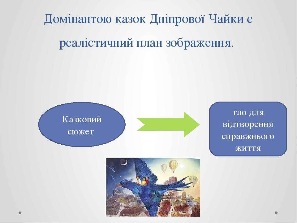 Домінантою казок Дніпрової Чайки є реалістичний план зображення. Казковий сюж...