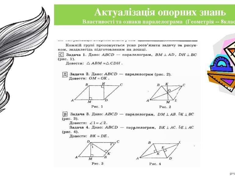 Актуалізація опорних знань Властивості та ознаки паралелограма (Геометрія -- ...