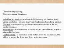 Directions Skydayving There are several directions: Individual acrobatics - a...