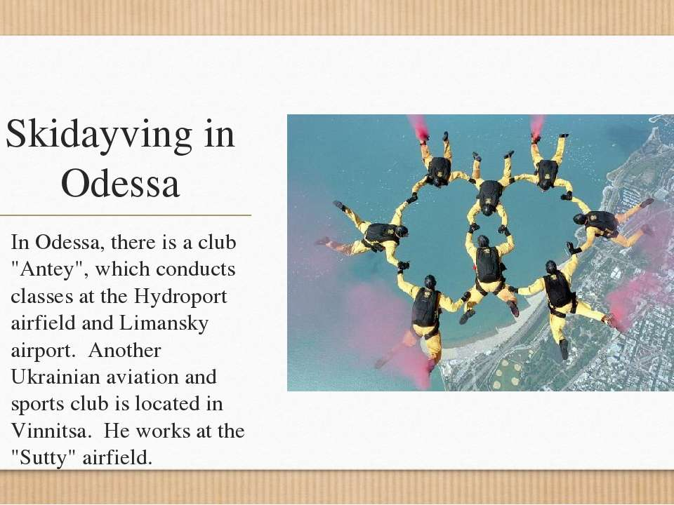 """Skidayving in Odessa In Odessa, there is a club """"Antey"""", which conducts class..."""