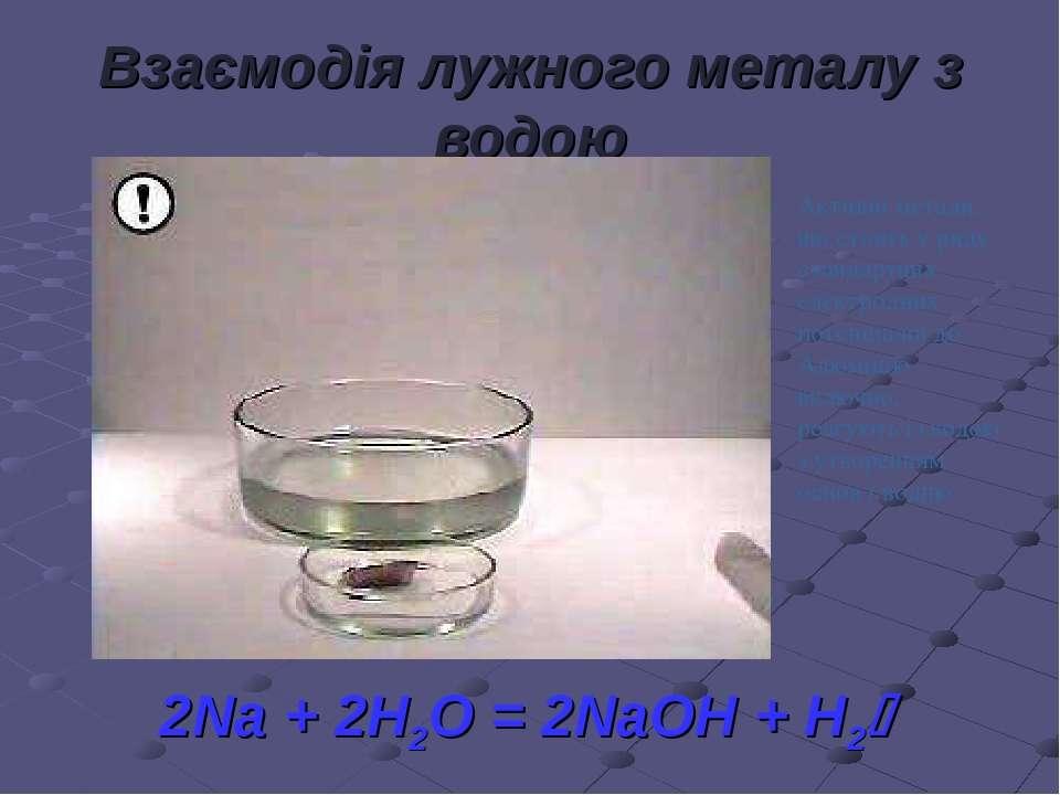 Взаємодія лужного металу з водою 2Na + 2H2O = 2NaOH + H2 Активні метали, що с...