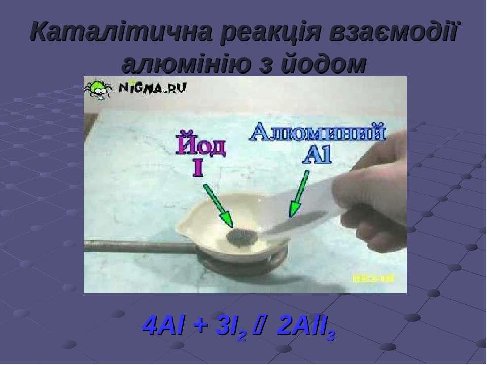 Каталітична реакція взаємодії алюмінію з йодом 4Al + 3I2 2AlI3