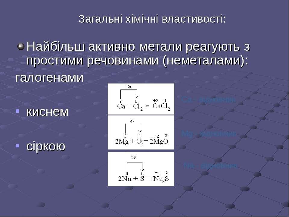 Загальні хімічні властивості: Найбільш активно метали реагують з простими реч...