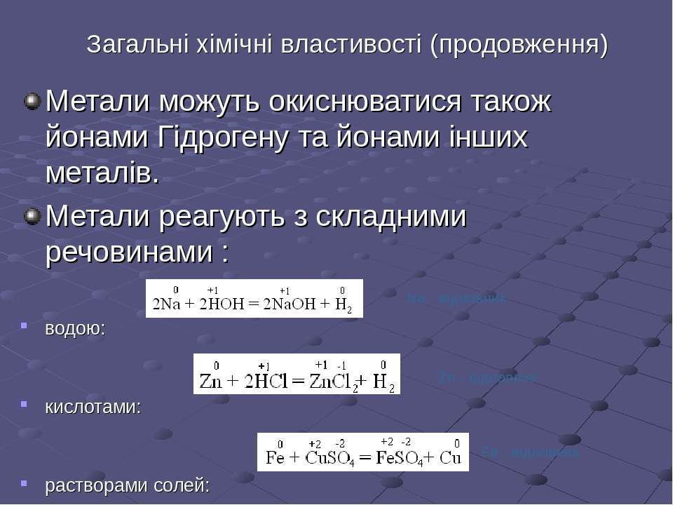 Загальні хімічні властивості (продовження) Метали можуть окиснюватися також й...