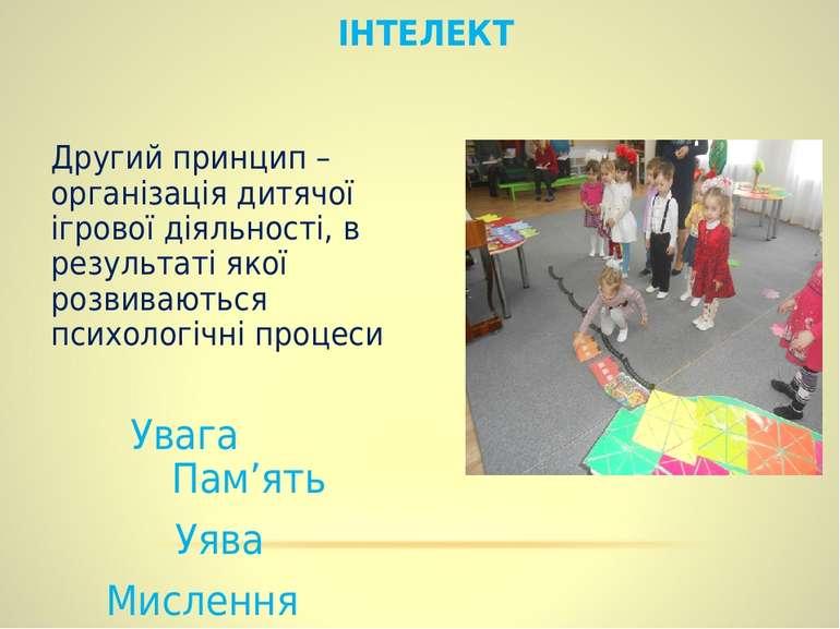 ІНТЕЛЕКТ Другий принцип – організація дитячої ігрової діяльності, в результат...