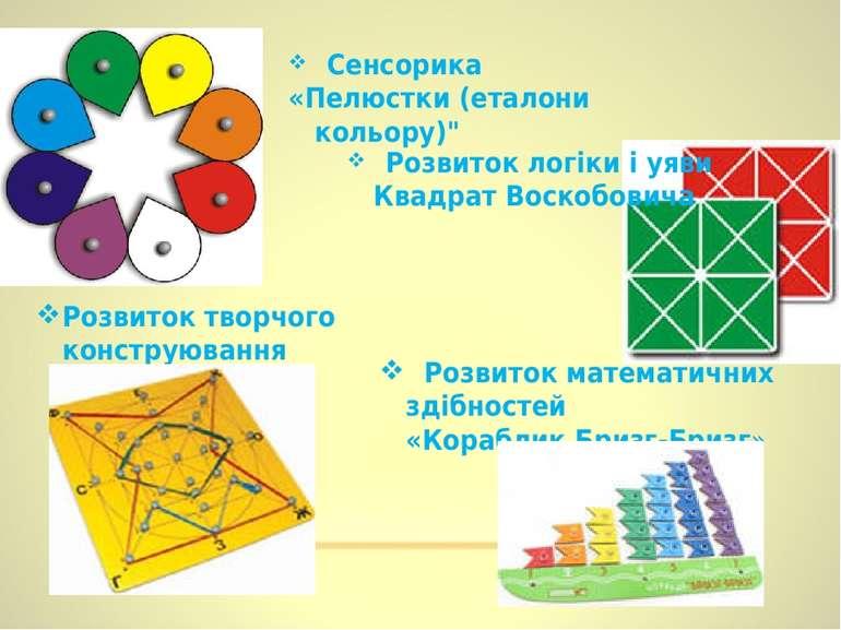 """Сенсорика «Пелюстки (еталони кольору)"""" Розвиток творчого конструювання «Геоко..."""