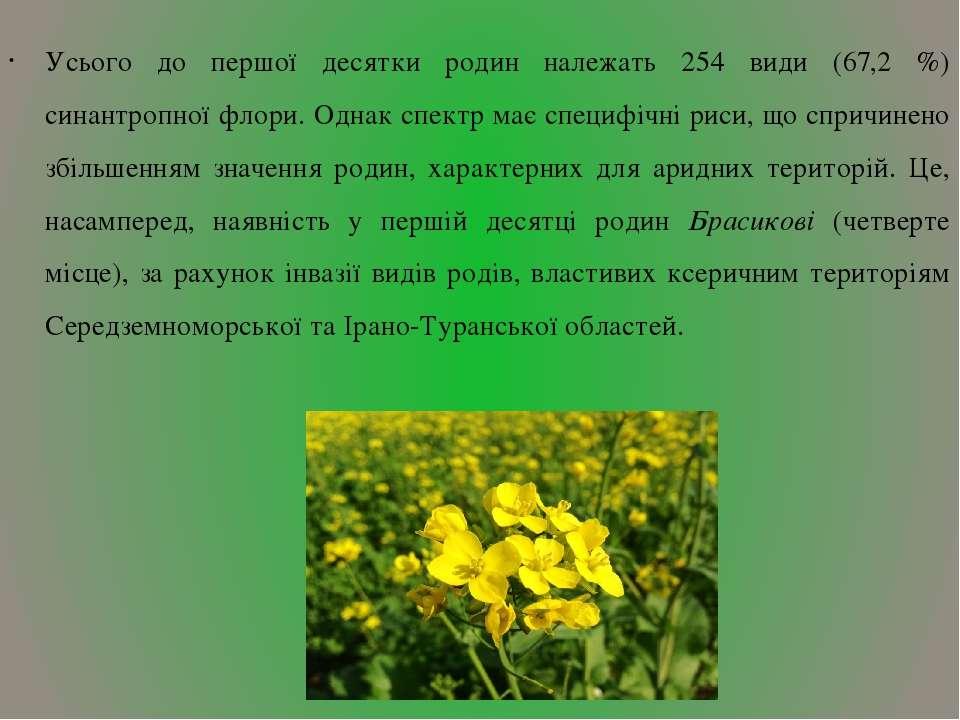 Усього до першої десятки родин належать 254 види (67,2 %) синантропної флори....