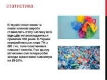 статистика В Україні пластикові та поліетиленові вироби становлять п'яту част...
