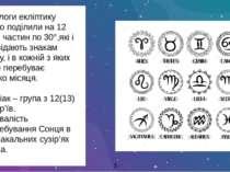 Астрологи екліптику умовно поділили на 12 рівних частин по 30°,які і відповід...
