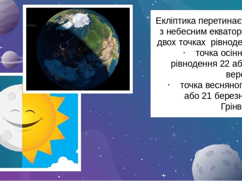 Екліптика перетинається з небесним екватором у двох точках рівнодення. точка ...
