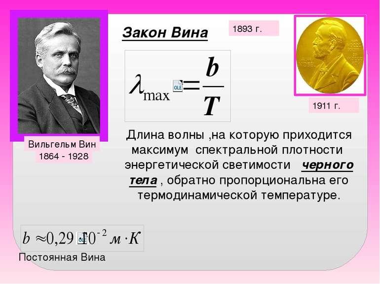 Закон Вина 1893 г. Вильгельм Вин 1864 - 1928 1911 г. Длина волны ,на которую ...