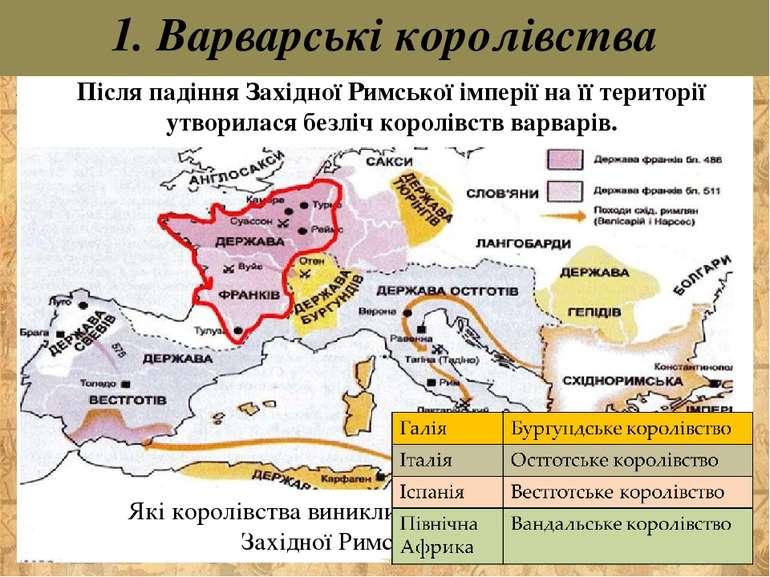 Після падіння Західної Римської імперії на її території утворилася безліч кор...