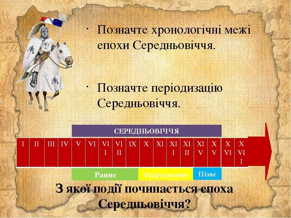 Позначте хронологічні межі епохи Середньовіччя. Позначте періодизацію Середнь...