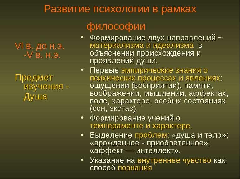 Развитие психологии в рамках философии VI в. до н.э. -V в. н.э. Предмет изуче...