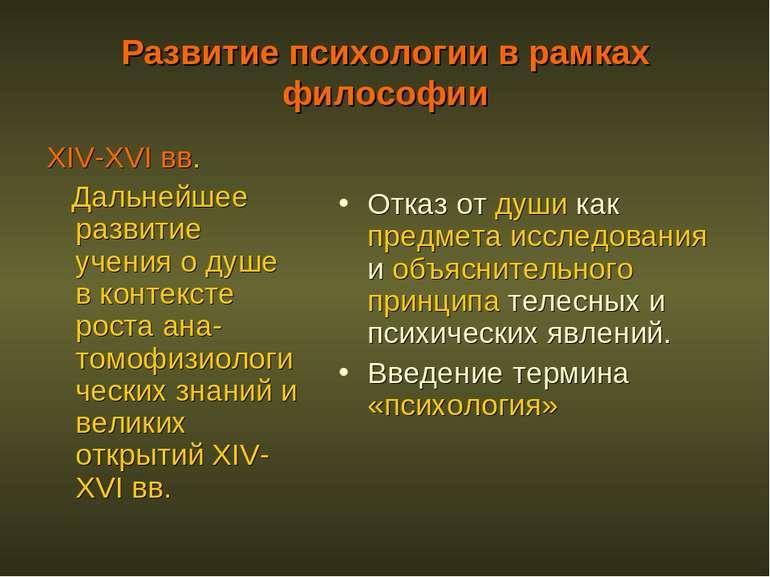 Развитие психологии в рамках философии XIV-XVI вв. Дальнейшее развитие учения...