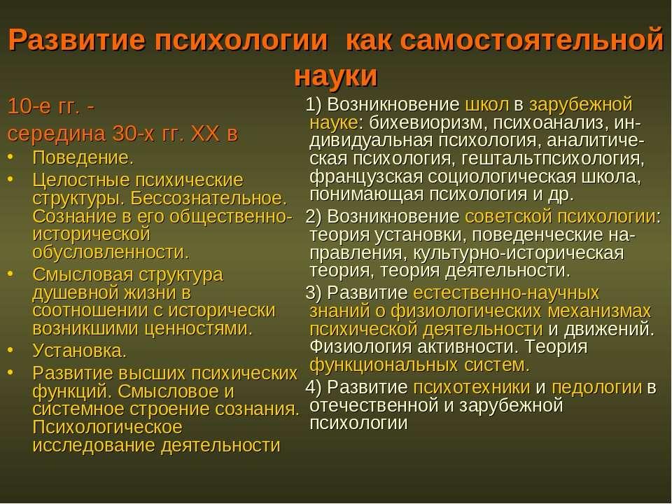 Развитие психологии как самостоятельной науки 10-е гг. - середина 30-х гг. XX...