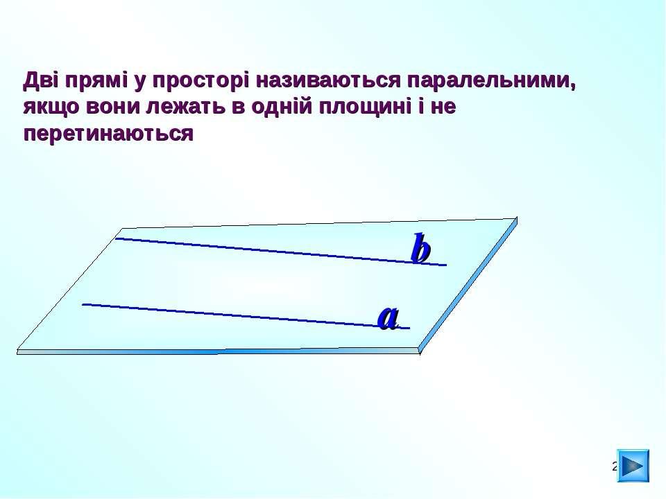 * Дві прямі у просторі називаються паралельними, якщо вони лежать в одній пло...
