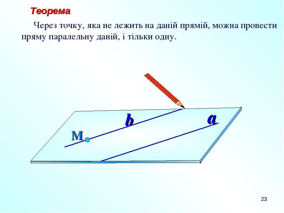 * Теорема Через точку, яка не лежить на даній прямій, можна провести пряму па...