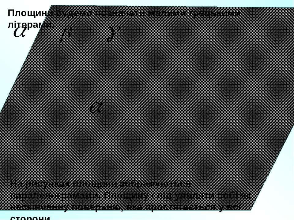 Площини будемо позначати малими грецькими літерами. На рисунках площини зобра...