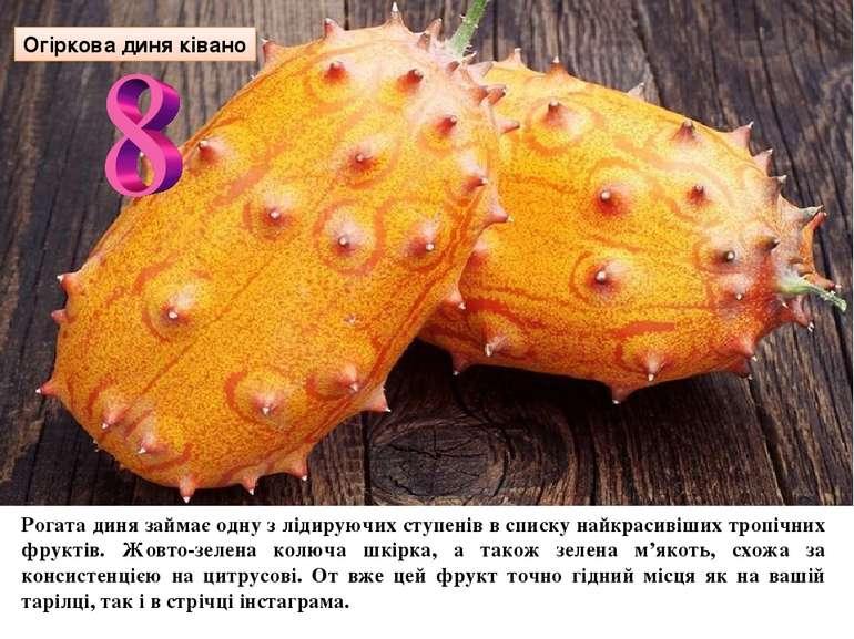 Огіркова диня ківано Рогата диня займає одну з лідируючих ступенів в списку н...