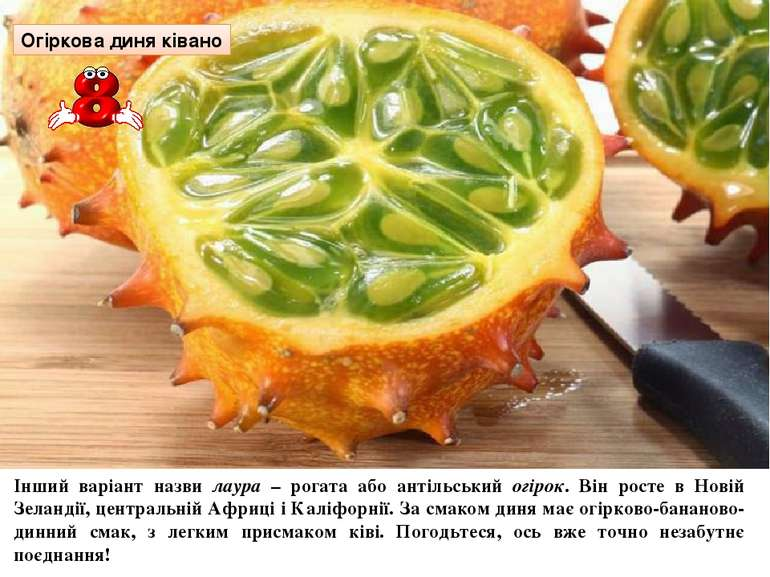 Огіркова диня ківано Інший варіант назви лаура – рогата або антільський огіро...