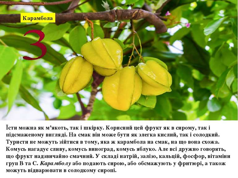 Карамбола Їсти можна як м'якоть, так і шкірку. Корисний цей фрукт як в сирому...