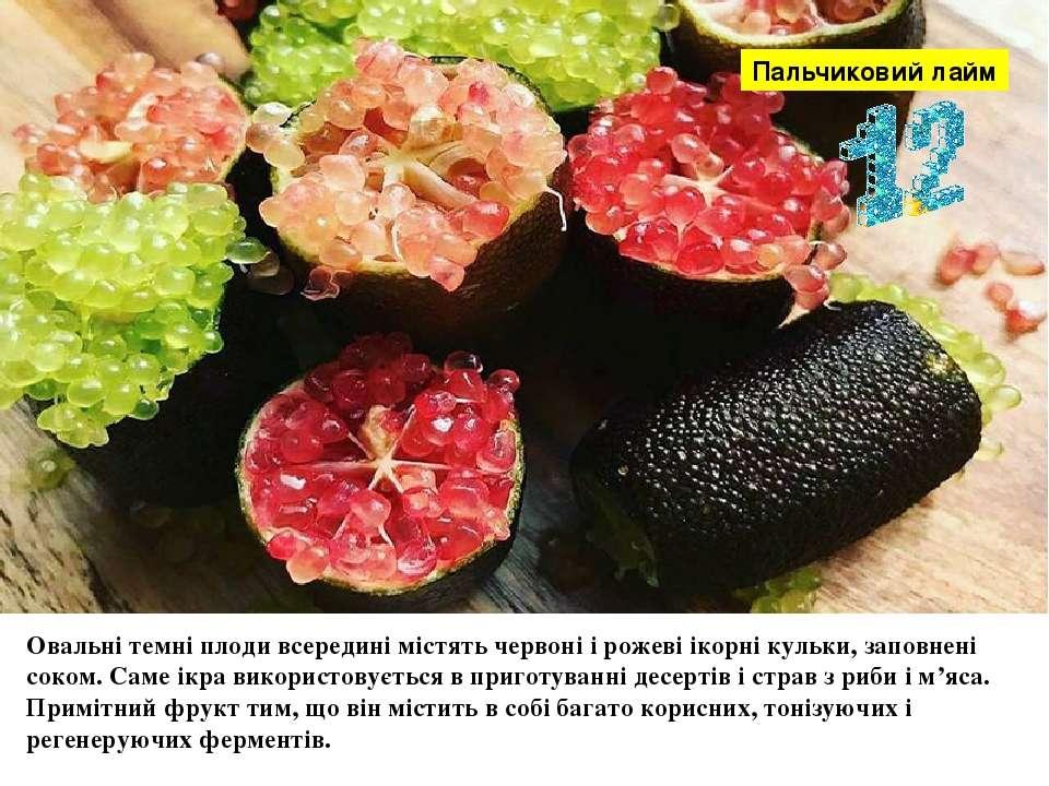 Овальні темні плоди всередині містять червоні і рожеві ікорні кульки, заповне...