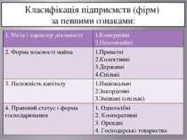 Класифікація підприємств (фірм) за певними ознаками: 1. Мета і характердіяльн...