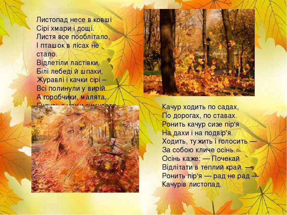 Листопад несе в ковші Сірі хмари і дощі. Листя все пооблітало, І пташок в ліс...