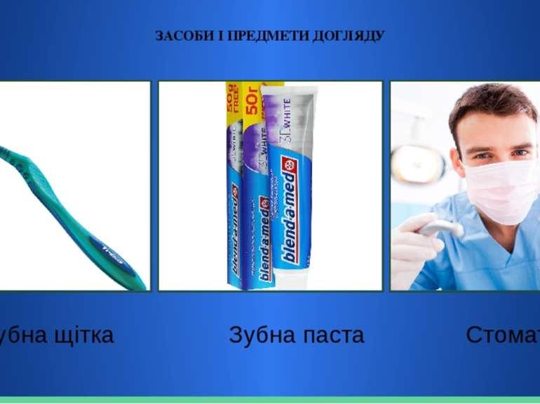 ЗАСОБИ І ПРЕДМЕТИ ДОГЛЯДУ Зубна щітка Зубна паста Стоматолог