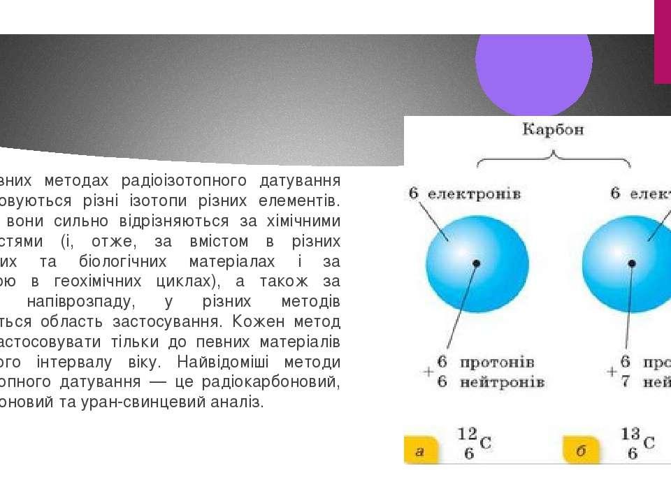 В різних методах радіоізотопного датування використовуються різні ізотопи різ...