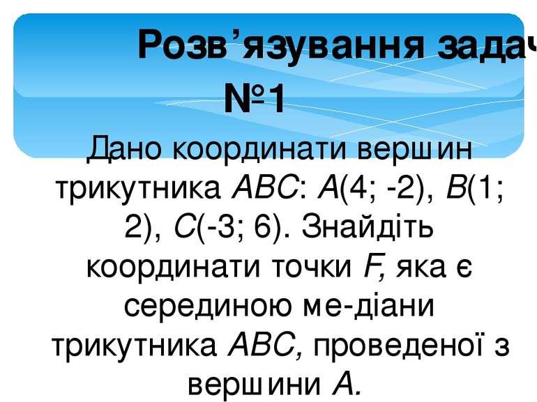 Розв'язування задач №1 Дано координати вершин трикутника ABC: A(4; -2), В(1; ...