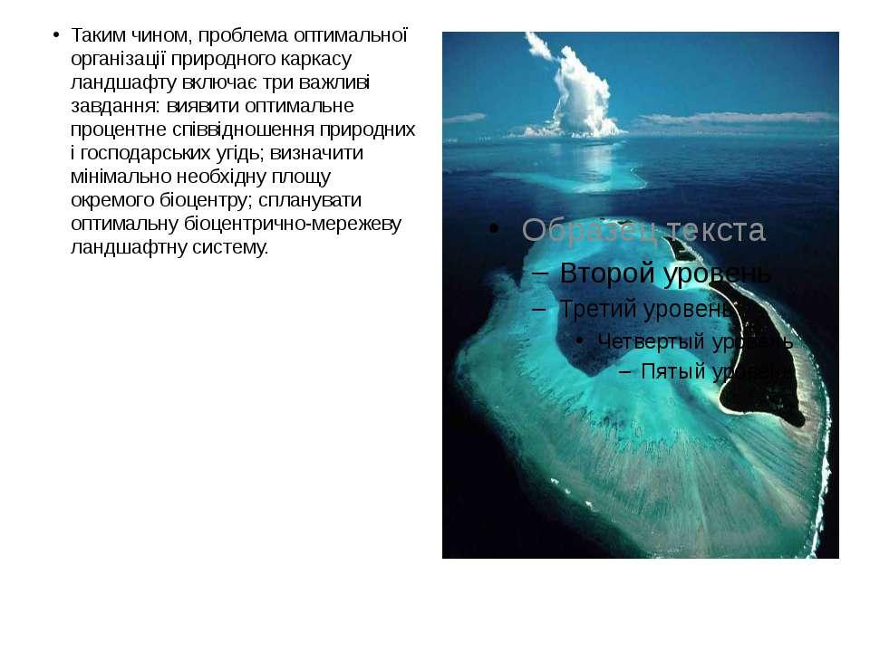 Таким чином, проблема оптимальної організації природного каркасу ландшафту вк...