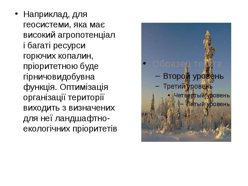 Наприклад, для геосистеми, яка має високий агропотенціал і багаті ресурси гор...