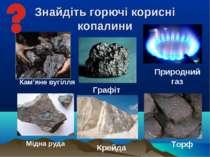 Знайдіть горючі корисні копалини Кам'яне вугілля Мідна руда Торф Крейда Приро...