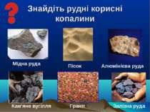 Знайдіть рудні корисні копалини Мідна руда Залізна руда Алюмінієва руда Пісок...