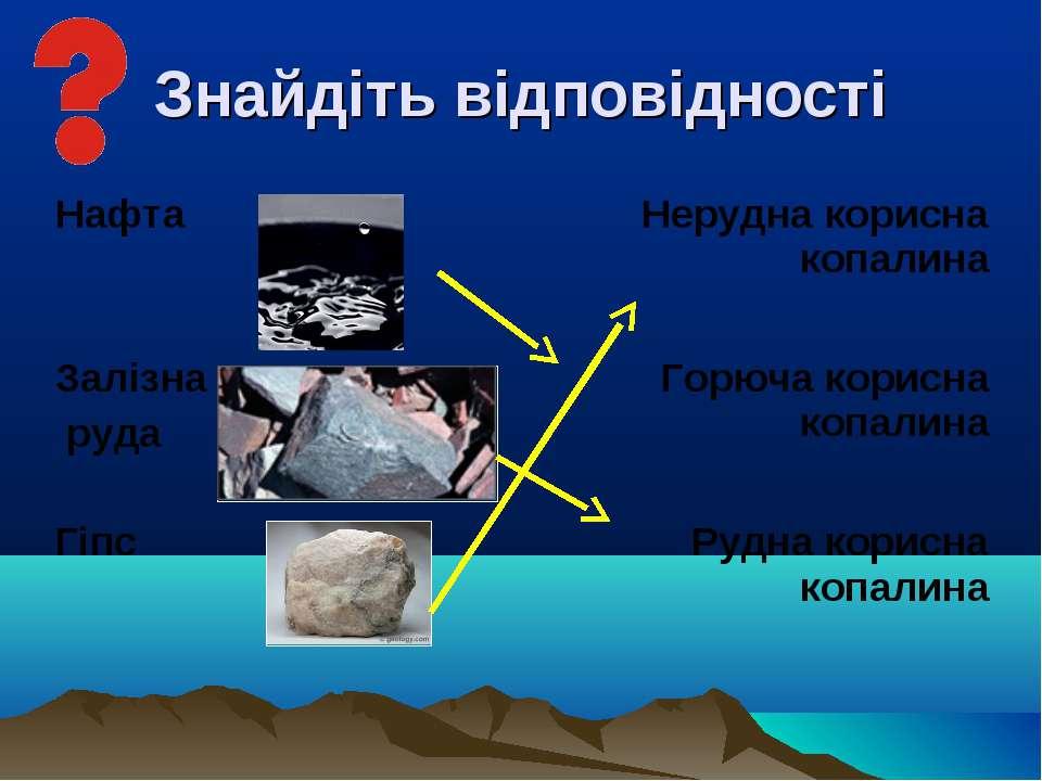 Знайдіть відповідності Нафта Нерудна корисна копалина Залізна руда Горюча кор...
