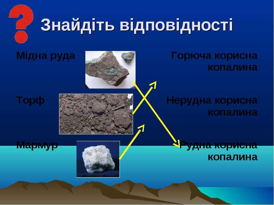 Знайдіть відповідності Мідна руда Горюча корисна копалина Торф Нерудна корисн...