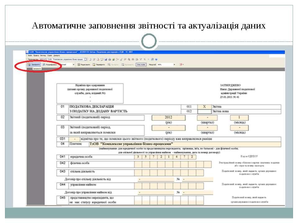Автоматичне заповнення звітності та актуалізація даних