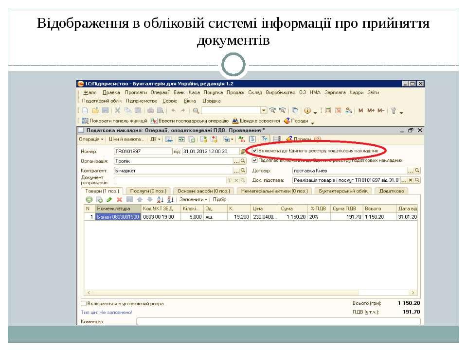Відображення в обліковій системі інформації про прийняття документів