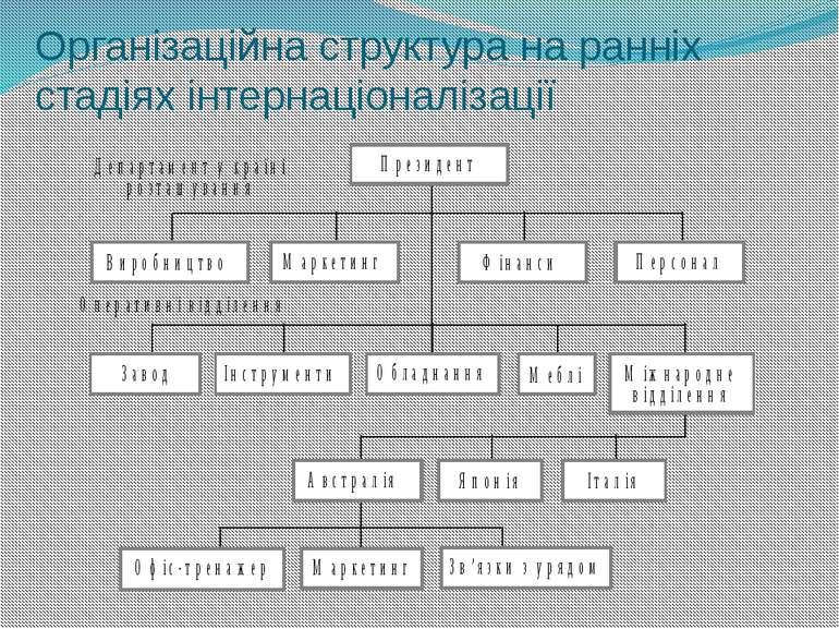 Організаційна структура на ранніх стадіях інтернаціоналізації