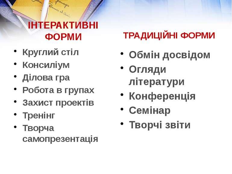 ІНТЕРАКТИВНІ ФОРМИ Круглий стіл Консиліум Ділова гра Робота в групах Захист п...