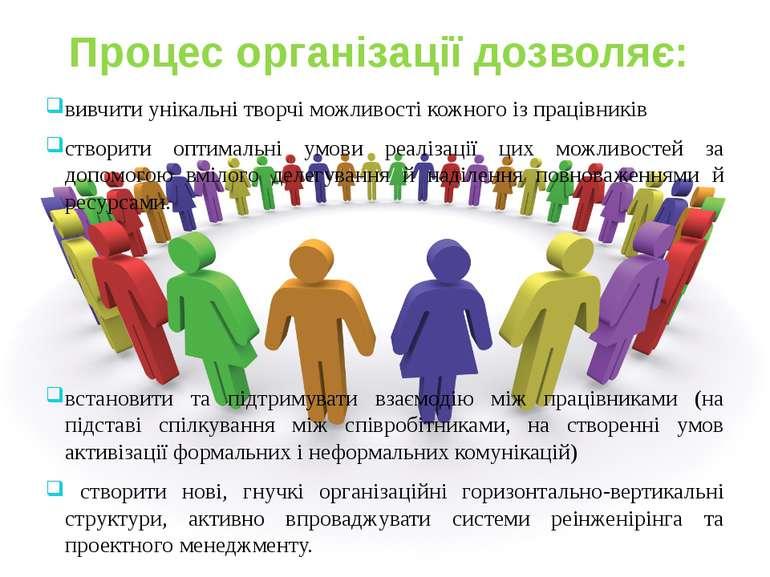 Процес організації дозволяє: вивчити унікальні творчі можливості кожного із п...
