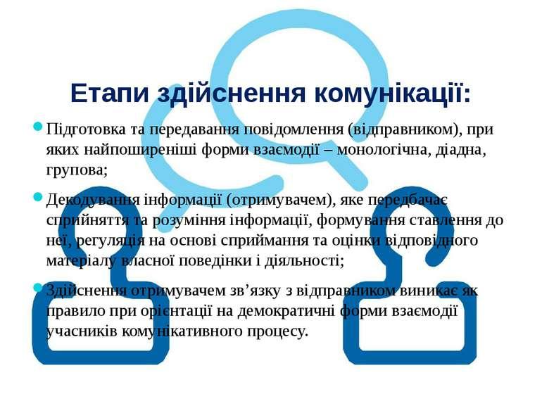 Етапи здійснення комунікації: Підготовка та передавання повідомлення (відправ...