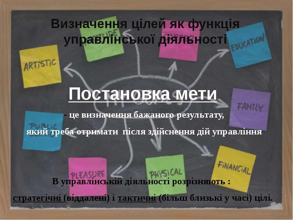 Визначення цілей як функція управлінської діяльності Постановка мети - це виз...