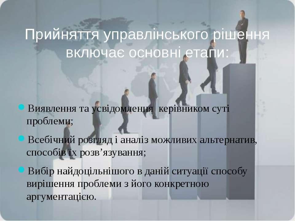 Прийняття управлінського рішення включає основні етапи: Виявлення та усвідомл...