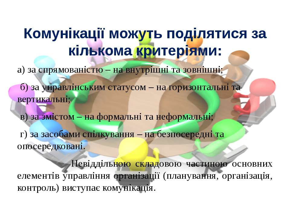 Комунікації можуть поділятися за кількома критеріями: а) за спрямованістю – н...