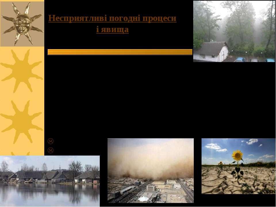 Несприятливі погодні процеси і явища Вони представлені: 1)Безпосередньо метео...
